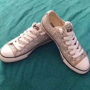 Silver Sequin Converse